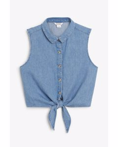 Denim Tie-front Shirt Country Blue