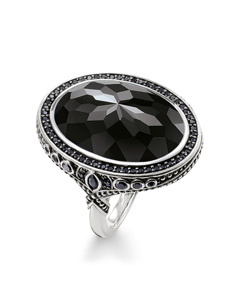 Cocktail Ring 925 Sterling Silver, Blackened