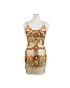 Hermes Paris Vintage Lycra Baroque Bodycon Dress Size 40