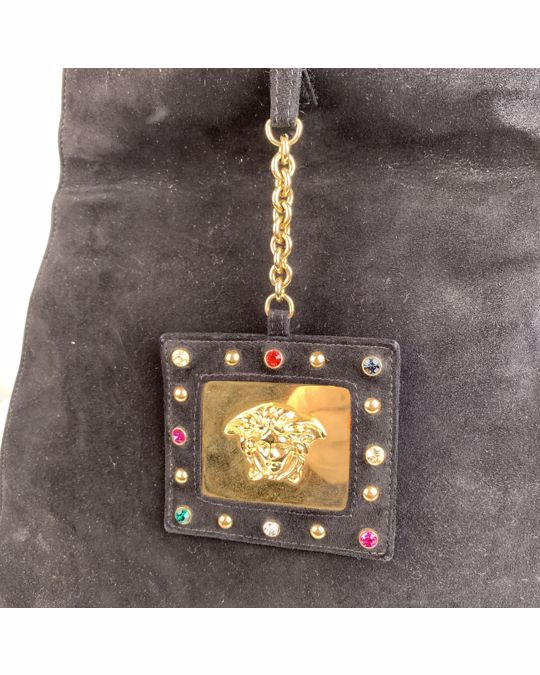 VERSACE Gianni Versace Vintage Black Suede Medusa Tote Hobo Bag