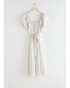 Belted Puff Sleeve Midi Dress Multi Stripes