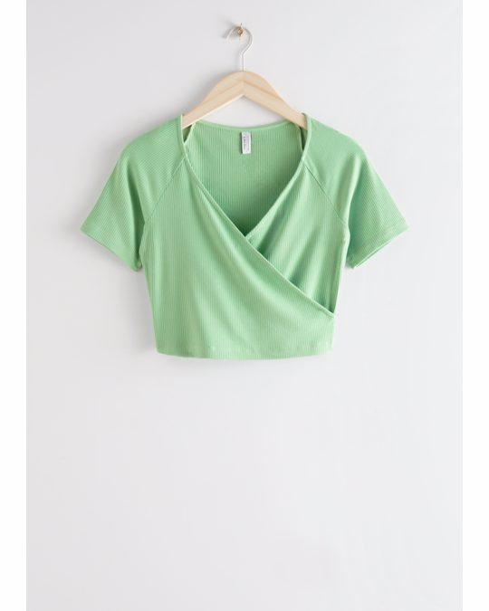 & Other Stories Fitted Wrap Top Light Green