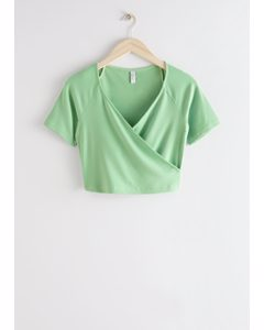 Fitted Wrap Top Light Green