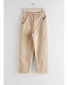 High Rise Carrot Leg Jeans Beige