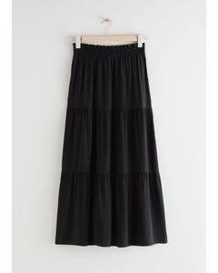 Smocked Waist Tiered Midi Skirt Black