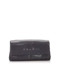 Bottega Veneta Leather Clutch Bag Purple