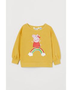 Sweatshirt Med Tryck Gul/greta Gris