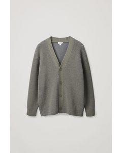 Oversized V-neck Cardigan Beige / Multi