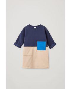 Organic Cotton Colour Block Sweatshirt Dress Multicoloured