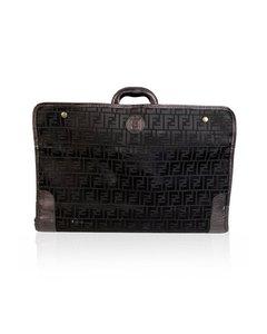 Fendi Vintage Black Monogram Canvas Travel Foldable Suitcase