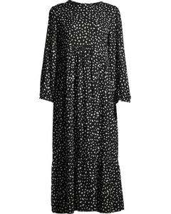 Black And White Spot Rachel Babydoll Midi Dress Flower