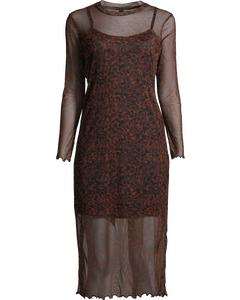 Amelie Mesh Midi Dress Brown