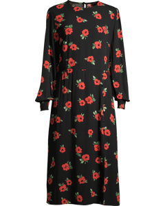 Georgie Midi Dress W Red Flowers Black