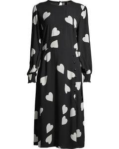 Georgie Midi Dress W Hearts Black