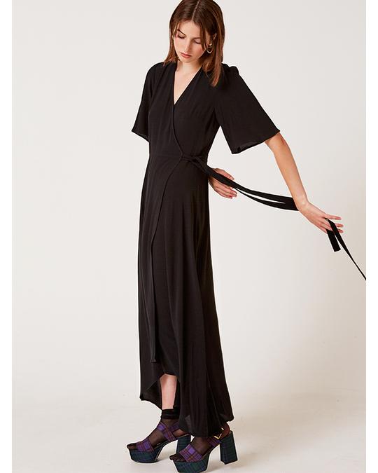 Nobody's Child Willow Wrap Midi Dress Black
