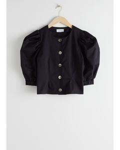 Bluse aus Bio-Baumwollmix mit Puffärmeln Schwarz