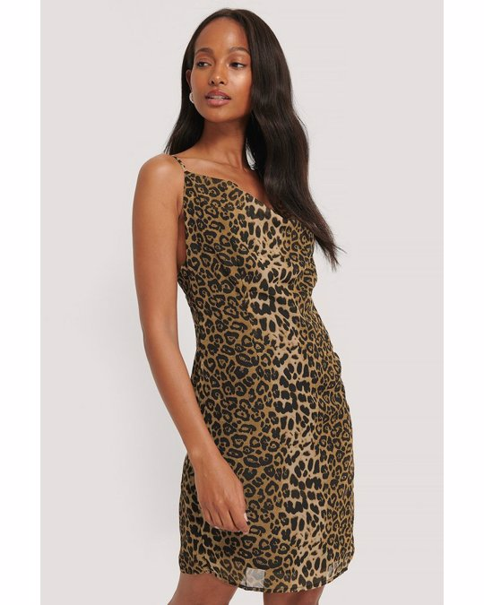 NA-KD Cowl Neck Chiffon Mini Dress Leo