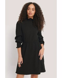Structured Smock Detail Dress Black