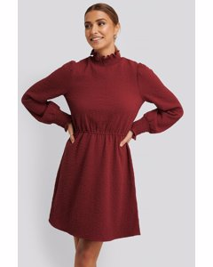 Structured Smock Detail Dress Dark Red