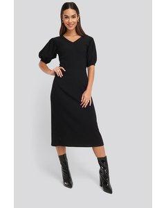 Textured Midi Dress Black