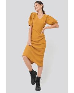 Textured Midi Dress Mustard