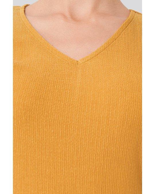 NA-KD Textured Midi Dress Mustard