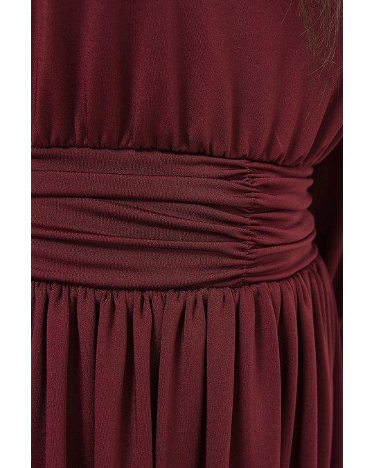NA-KD Gathered Waist Jersey Dress Burgundy