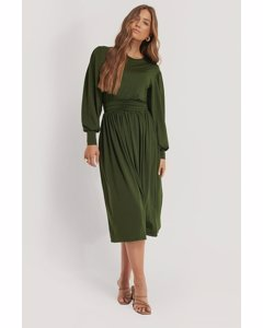 Gathered Waist Jersey Dress Dark Green