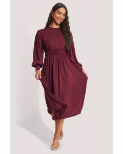 Gathered Waist Jersey Dress Burgundy