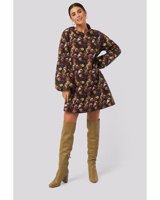 NA-KD Volume Ls Mini Dress Yellow Flower