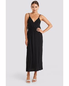 Plisse Wrap Midi Dress Deep Black