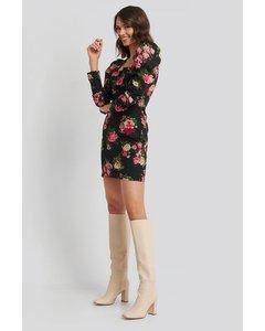 Square Neck Puffy Sleeve Dress Flower Print