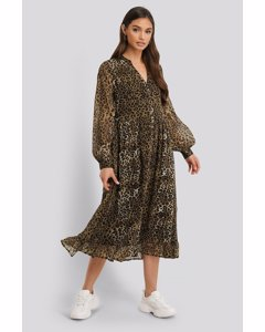 Flowy Midi Flounce Dress Leoprint