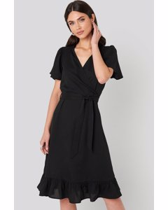 Smocked Shoulder Belted Frill Dress Black