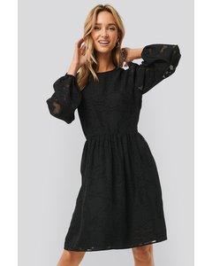 Flowy Flower Applique Dress Black