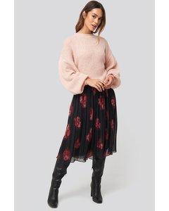 Pleated Sheer Midi Skirt Flower Print