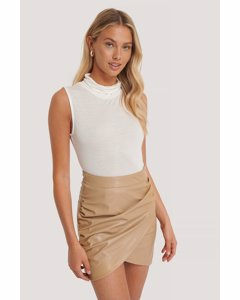 Turtle Neck Sleeveless Ribbed Jersey Top White