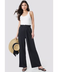 Tie Detail Paperbag Wide Pants Black
