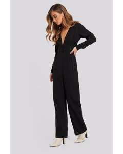 V-neck Button Detail Jumpsuit Black