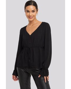 Drawstring Detail Blouse Black