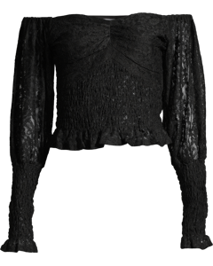 Off Shoulder Smock Lace Top Black