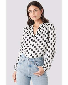 Big Dots Long Sleeve Blouse White/black