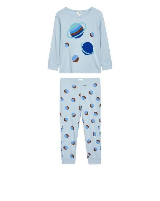 Arket Jersey-Pyjama-Set Hellblau