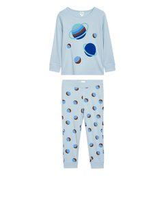 Jersey-Pyjama-Set Hellblau