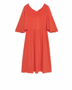 Batwing Jersey Dress Red