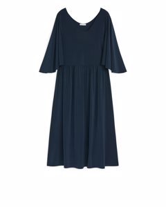 Jerseykleid mit Fledermausärmeln Dunkelblau