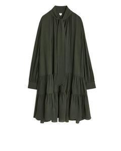 Tie-detail Dress Dark Green