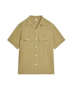 Linen-Silk Short-Sleeved Shirt Khaki Green
