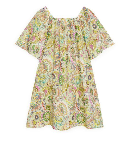 Arket Square-neck Voile Dress Green/floral