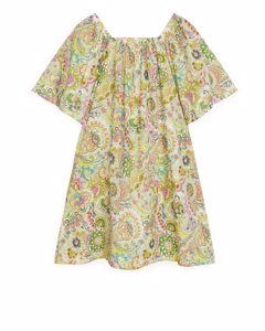 Square-neck Voile Dress Green/floral
